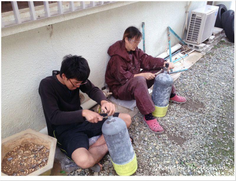 ひたすらタンク磨きシーン photo by iPhone4S