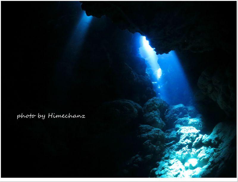 洞窟内は幻想的な光があちこちに射してました! photo by CANON PowerShot S100