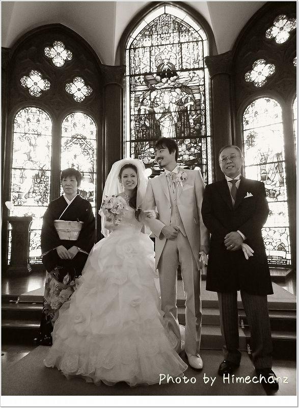 新婦家族 なんとなく白黒写真に。