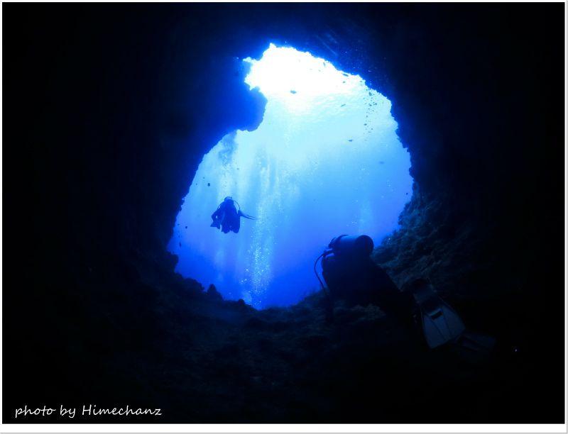 ブルーホールの別の穴から外海へ♪ photo by CANON PowerShot S100