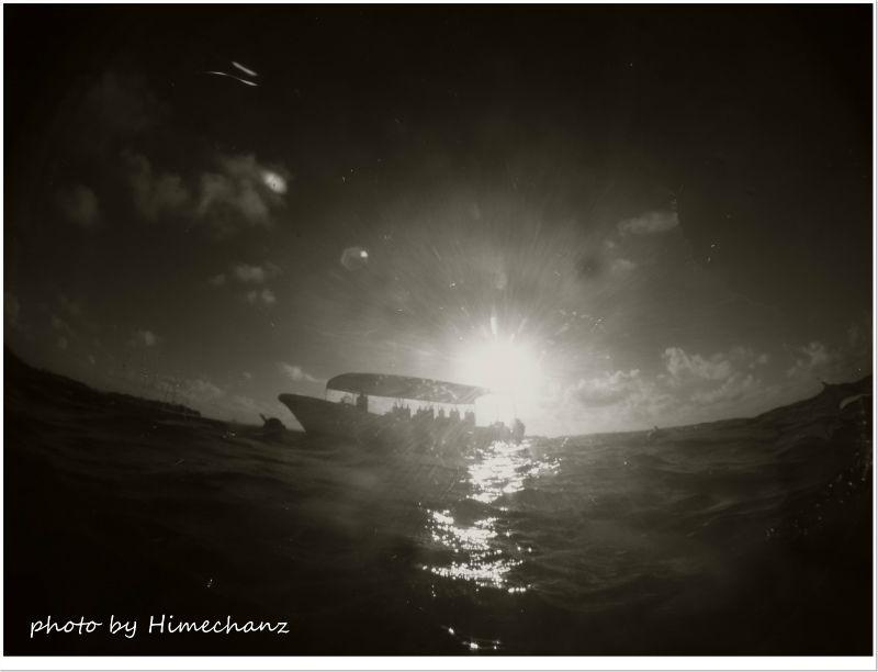 水面に出ると眩しい朝日に包まれました♪ photo by CANON PowerShot S100