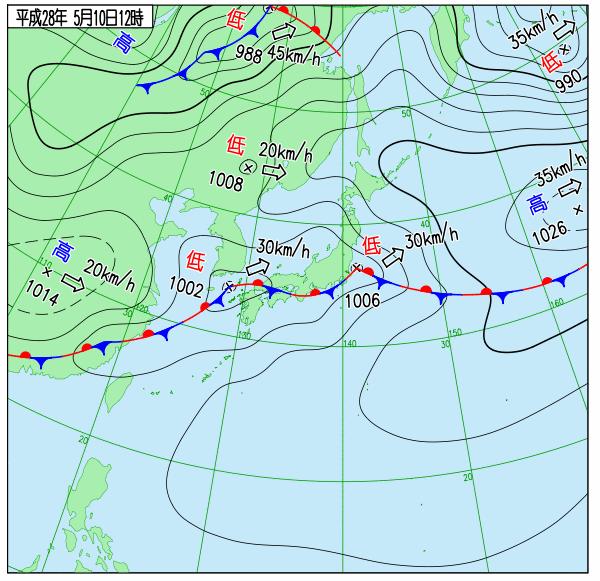 20160510 12時時点の天気図