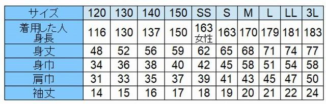 生地2のサイズ表